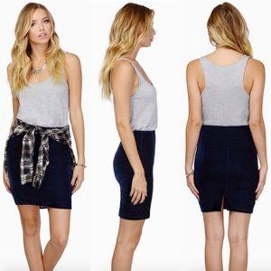 Tobi Dresses & Skirts - Blue Velvet Pencil Skirt