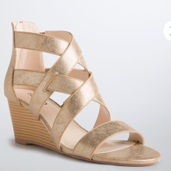 519a3b151aa torrid Shoes | Wide Width Strappy Gold Shimmer Wedges | Poshmark