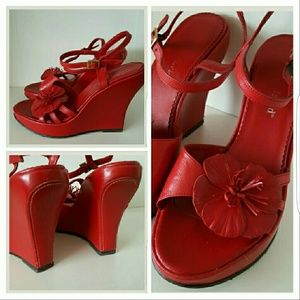Charles David Shoes - Gorgeous Vintage Red Leather Charles David Wedges