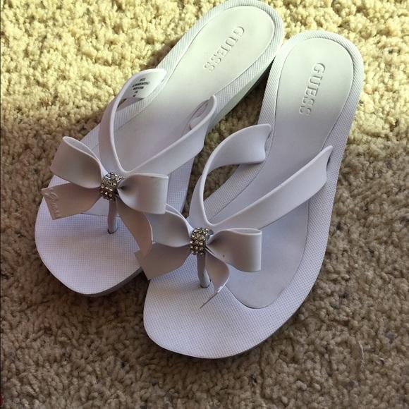 Guess Tutu White Flip Flops Wedding