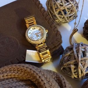 MK Bradshaw Crystal Chrono Goldtone Watch