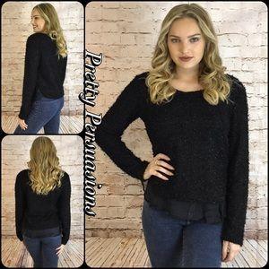 NWT Black Fuzzy Knit Ruffle Hem Sweater