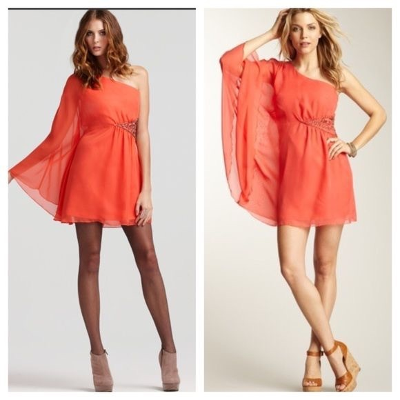 4acf365a84 Free People Dresses   Skirts - FREE PEOPLE CORAL ONE SHOULDER CHIFFON DRESS
