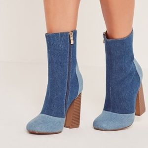 Denim Zip Up Heel Boots
