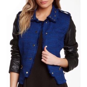 ROMEO & JULIET COUTURE FAUX LEATHER TWEED JACKET
