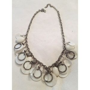 Unique shell bead silver ring necklace!