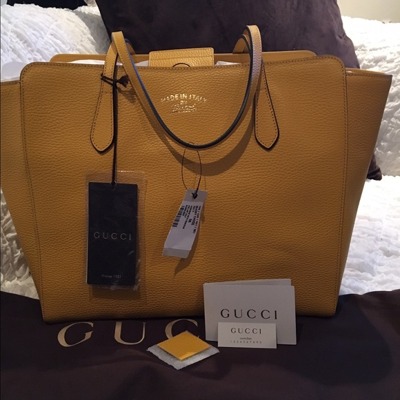 d781d2bcb86 GUCCI Swing Bumblebee Yellow Calf Leather. NWT. Gucci.  775  1650. Size