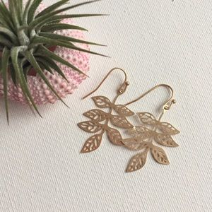 Matte Goldtone Filigree Leaf Earrings
