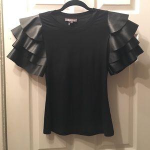 Black unique tier sleeved top