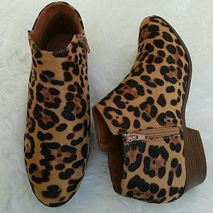 starlight footwear  Shoes - Leopard Suede Ankle Booties / Zipper