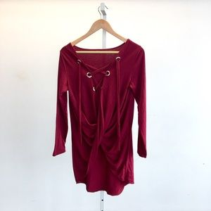 Tops - Maroon Lace-Up Tunic Top
