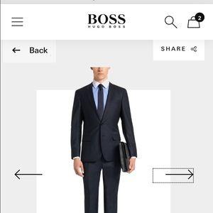 Blue hugo boss dress shirt with white collar