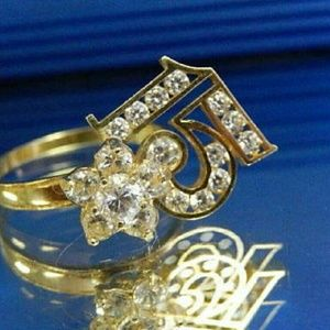 """Jewelry - Quinceanera""""15 """" 14k gold 1.00ct cz spinner ring"""