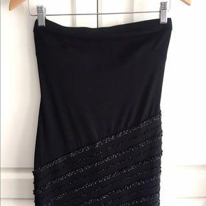 Cache Dresses & Skirts - Cache black asymmetrical strapless dress