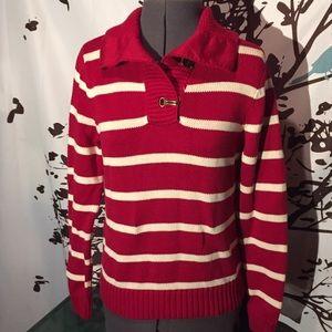 Lauren Ralph Lauren Red & White Nautical Sweater