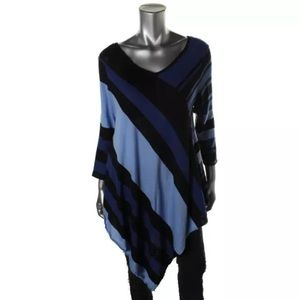 NY Collection Sweaters - NY Collection Colorblock Asymmetrical Sweater