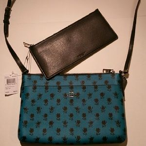 Coach Limited edition Turquoise floral handbag set