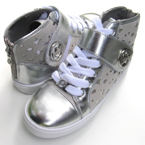 94a88652db6f70 New Girl s Michael Kors High Top Silver Shoes