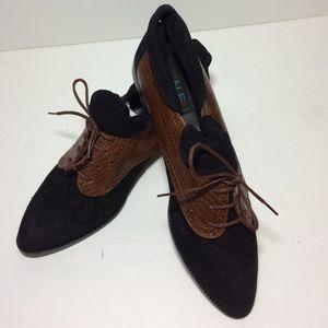 Vaneli Shoes - Vaneli Black Brown Oxfords Leather Suede Size 9 M