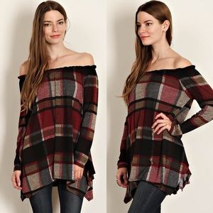 Tops - Plaid Print Off The Shoulder Tunic- BURGANDY