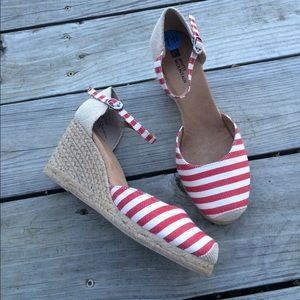 White Mountain Shoes - Red Striped Espadrille Wedges