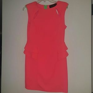 AKIRA Dresses & Skirts - Hot Pink and Green Mini cut out dress