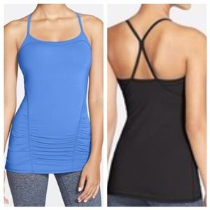 Zella Tops - Zella Focus Shirred Tank Shelf Bra Racer Back, M