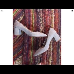 Zara Basics Collection Leather Block Heel Gray 8