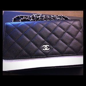 Chanel WOC (wallet on chain) black caviar leather