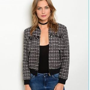 Jackets & Blazers - Black and Pink Tweed Bomber Jacket