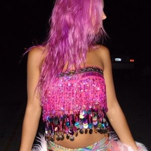 Pink rainbow jeweled sequin coin skirt