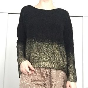 oasap Tops - Gold Dipped Black Sweater