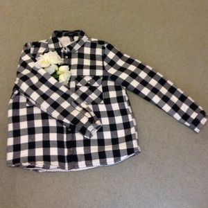 Forever 21 Black and White Plaid Coat