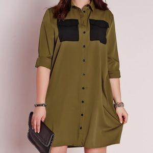 Missguided + Dresses & Skirts - Size 12 Military Pocket Shirt Dress (Khaki)