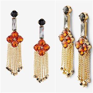 Topaz Stone Flower Gold Fringe Crystal Earrings