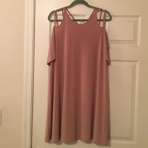 Dusty Pink Off the Shoulder Swing Dress