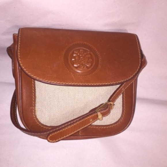 100a793129dd authentic FENDI linen & leather Crossbody Bag