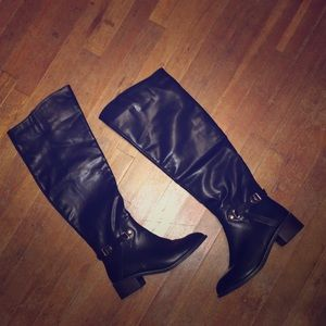 Thigh High Black boots with gold accents
