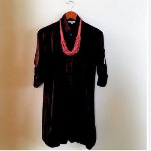 Cecico Black 3/4 Sleeve Button Down Shirt Dress