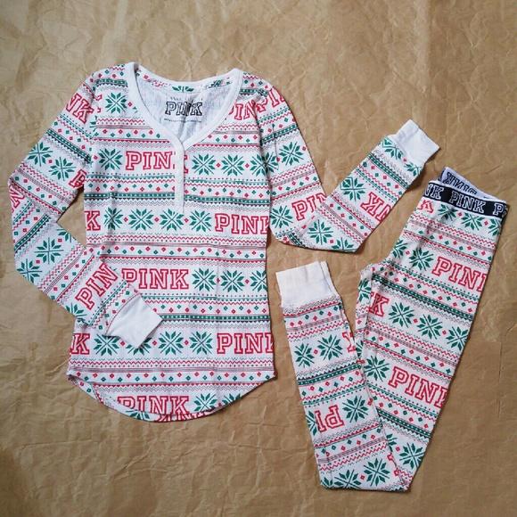 d3d70b4a95 🆕PINK Christmas Thermal Pajama Set. M 584a3c95c2845634920102d3