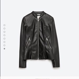 Zara Jackets & Blazers - Zara Peplum Faux leather jacket
