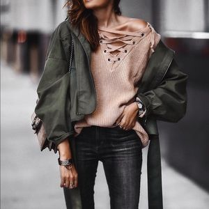 Boutique Sweaters - Lace Up Sweater