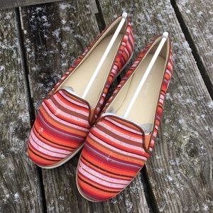 Andrew Geller Shoes - Striped Canvas Slip-Ons! NIB!