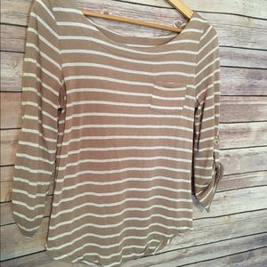 DNA Couture 3/4 Slv Tan/Cream Striped Top- Size M