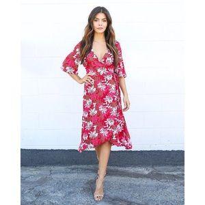 Vici Burgundy/Red Floral Wrap Dress