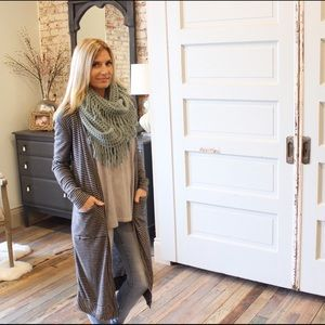 Gray and black striped long cardigan