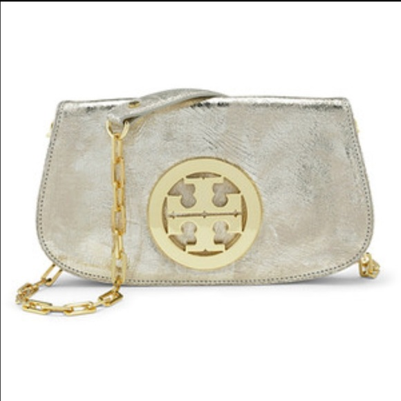3932c6c9a8 Gorgeous Tory burch Reva gold cross body clutch. M_584a58589c6fcf7903014aec