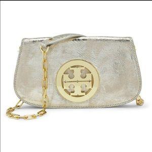 Tory Burch Handbags - Gorgeous Tory burch Reva gold cross body clutch