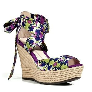 Ugg Lucianna Purple Silk Ankle Bow Wedges-9