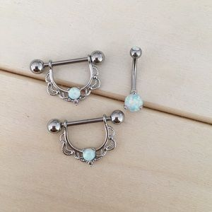 Jewelry - Fire Opal Lace Nipple Rings & Belly Ring